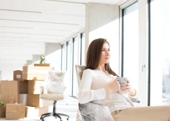 woman packing office